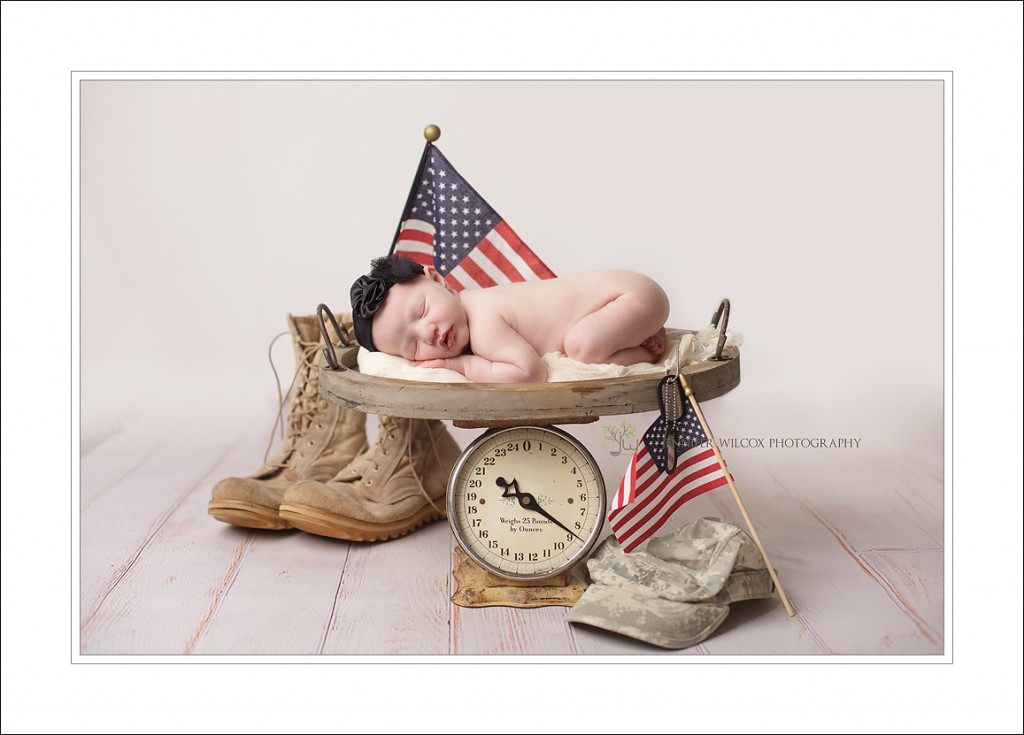 military baby, baby on scale