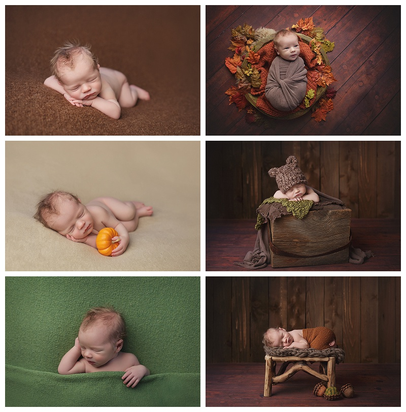 Seattle newborn photographer, Jennifer Wilcox, takes perfect portraits of a brand new baby boy with a Fall theme.