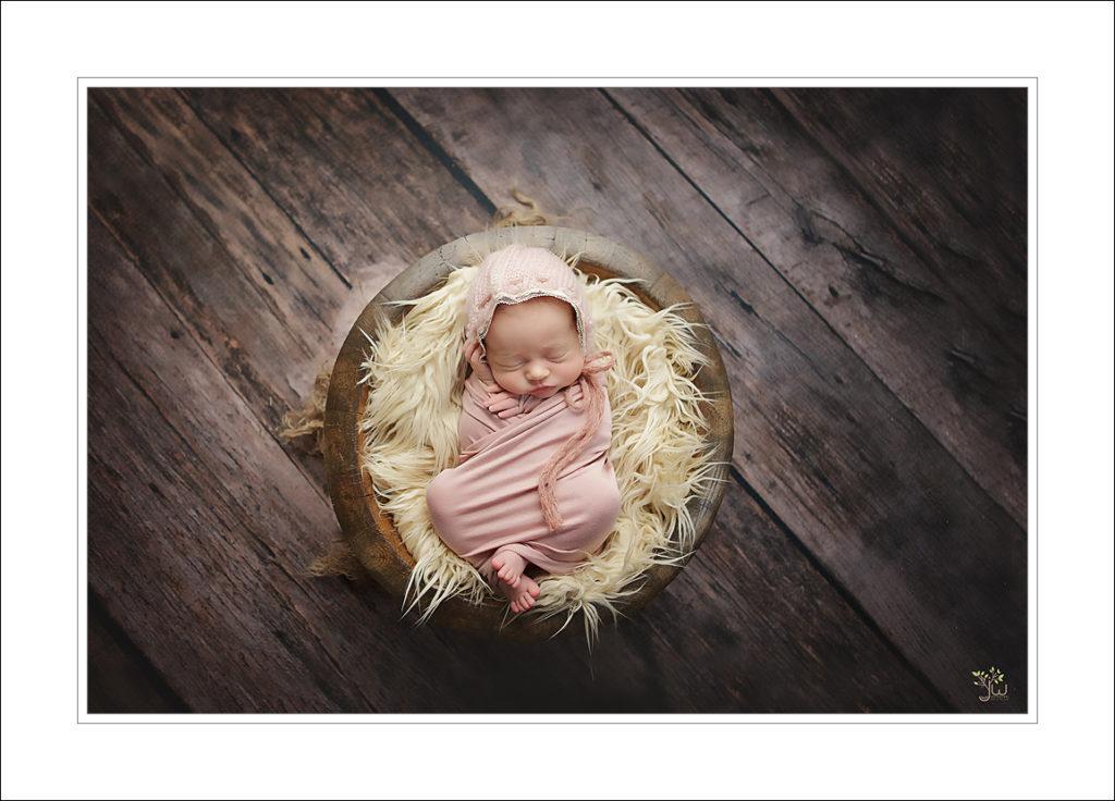 Baby girl swaddled